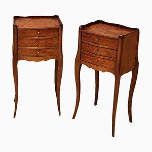 Mahogany Inlaid Bedside Cabinets, Set of 2