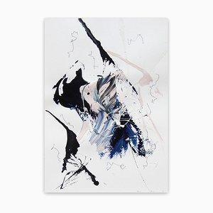 Blue Velvet 3, Travail Abstrait sur Papier, 2020