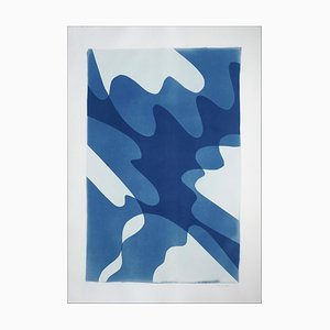 Shaky Shadows, Handmade Monotype of Minimal Abstract Shapes & Layers in Blue, 2021