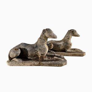 Antique Regency Coade Stone Greyhound Garden Dogs, Set of 2