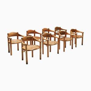 Geschnitzter Stuhl aus Kiefernholz von Rainer Daumiller, Dänemark, 1970er