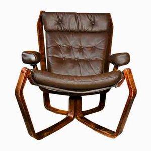 Skandinavischer Vintage Wikinger Stuhl in Coco Leder, 1970er