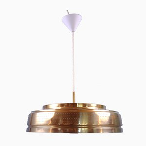 Brass Plated Pendant Lamp by Carl Thore for Granhaga, Sweden, 1970s