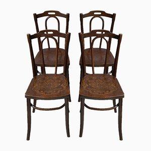 Antike französische Jugendstil Esszimmerstühle aus Bugholz, 1910er, 4er Set