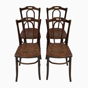 Antique Art Nouveau French Bentwood Dining Chairs, 1910s, Set of 4