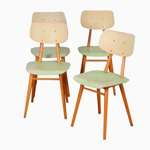 Vintage Wooden Chairs from Ton, 1960s, Set of 4