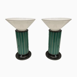 Mid-Century Mint Green Murano Glass Table Lamps, Set of 2