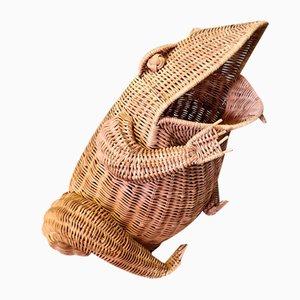 Vintage Braided Rattan Frog, 1960s