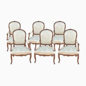 Louis XV Style Armchairs, Set of 6