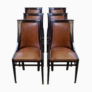 English Gondola Chairs or Dining Chairs with Leather Seat, 1900s, Set of 6