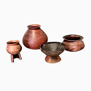 Afrikanische Vintage Keramiktöpfe, 4er Set
