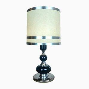 Mid-Century Italian Chrome and Wood Table Lamp
