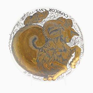 Hand Painted Ceramic Zodiac Plates Capricornvs by Piero Fornasetti for Atelier Fornasetti, 1964