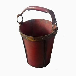 Leather and Metal Paper Bin