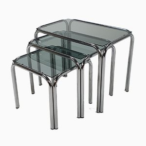 Chrome and Smoked Glass Nesting Tables, 1970s, Set of 3