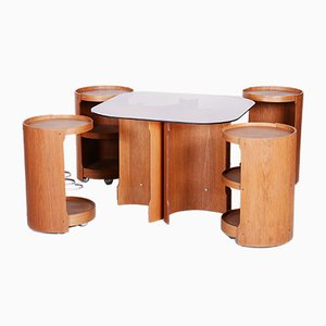 Small Oak Table with Black Opaxit Top, 1960s