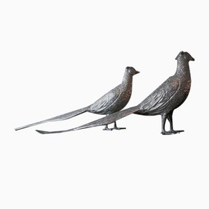 Fagian Statuettes with Bronze and Silver Plating, Set of 2