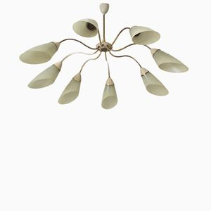 Eight-Arm Sputnik Brass Ceiling Light, 1950s