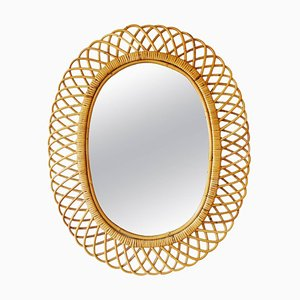 Mid-Century Italian Bamboo and Rattan Oval Mirror