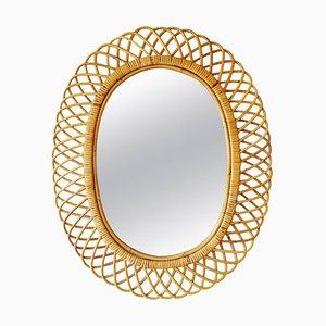 Ovaler italienischer Mid-Century Spiegel mit Rahmen aus Bambus & Rattan