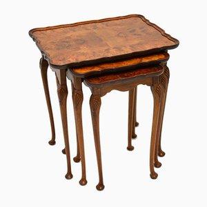 Antike Tische aus Nusswurzelholz, 3er Set