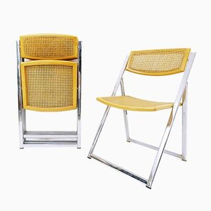 Italian Chrome and Cane Folding Dining Chairs from Arben, 1970s, Set of 4