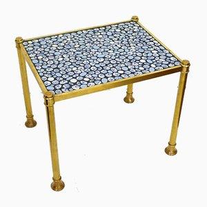 Kleiner goldener Tisch mit goldenem Metallfuß