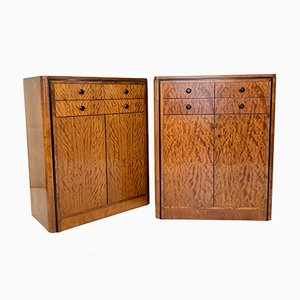 Early 20th Century Art Deco Dresser Chest of Drawers in Mahogany, Set of 2