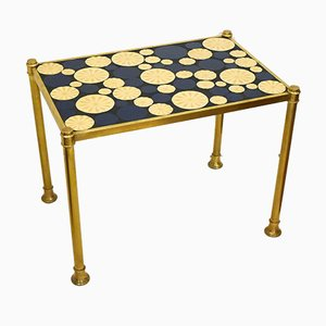 Gold Metal Coffee Table & Mosaic Tray