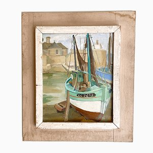 French Oil Painting with Harbor Scene, 1940s