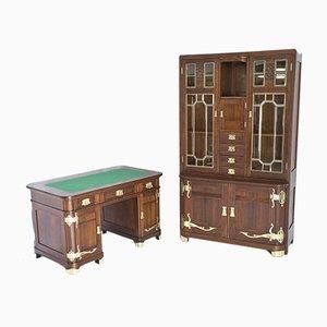 Jugendstil Sezession Schreibtisch & Bücherregal Set von Sigmund Jaray, 1900er, 2er Set