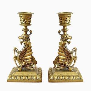 Couple Scandinavian Empire Candlesticks, 1870, Set of 2