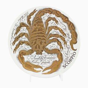 Handbemalte Keramik Sternzeichen Skorpion von Piero Fornasetti für Atelier Fornasetti, 1967