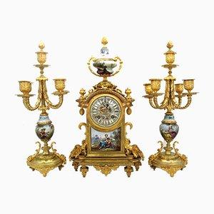 Pendulum Clock with Napoleon III Candelabra in Golden Bronze and Porcelain, 19th Century, Set of 3