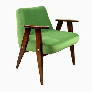 Light Green Velvet 366 Lounge Chair by Józef Chierowski, 1970s