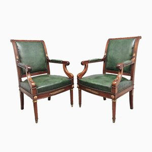 19th Century French Mahogany Armchairs, Set of 2