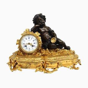 Napoleon III Pendeluhr aus vergoldeter Bronze, 19. Jh