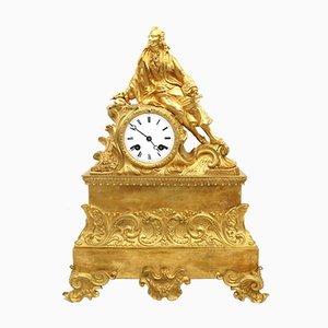 Pendule Horloge Louis Philippe en Bronze Doré, 19ème Siècle