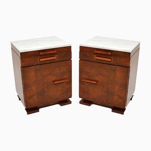 Art Deco Satin Birch Marble Top Bedside / Side Cabinets, Set of 2
