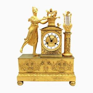 Empire Pendeluhr aus vergoldeter Bronze, 19. Jh