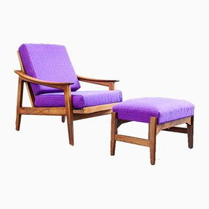 Rosewood Armchair and Pouf by Gilberto Cassina, Italy, 1950s, Set of 2