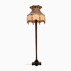 Antique Floor Lamp with Silk Shade