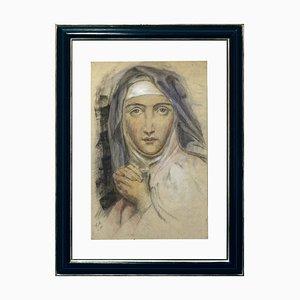 Anonym, Nonne, Pastell auf Papier, Italien