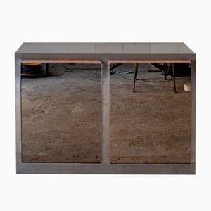 Hölzernes Sideboard aus Stahl und Spiegelglas, Italien, 1970er
