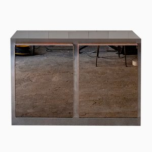Wooden Sideboard in Steel and Mirror Glass, Italy, 1970s