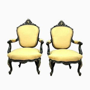 Napoleon III Armchairs in Black Lacquered Wood and Patinated Bronze, Set of 2
