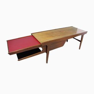 Extendable Teak Coffee Table with Storage Space, 1960s