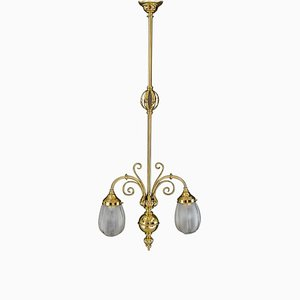 Art Deco Pendant with Original Glass Shades, Vienna, 1920s