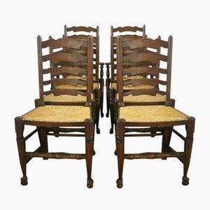 Oak Ladderback Chairs, Set of 8