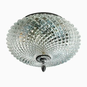 Round Mid-Century Ceiling or Wall Lamp in Crystal Glass & Chrome, 1970s